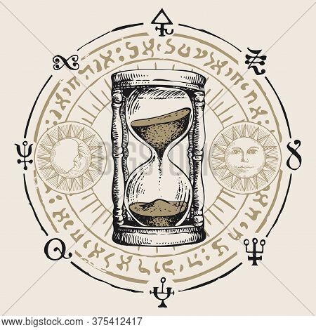 Hand-drawn Hourglass With Running Sand Inside In Retro Style. Vector Banner With A Sand Clock, Esote