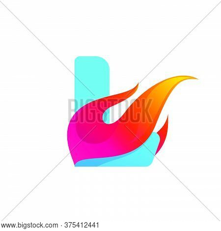 Letter L Logo With Fast Speed Fire. Vector Icon Perfect To Use In Sportswear Labels, Race Posters, D