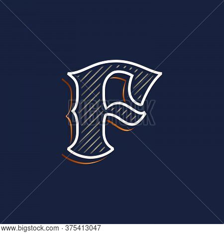 Vintage F Letter Logo With Line Decoration. Classic Serif Lettering. Vector Font Perfect To Use In A