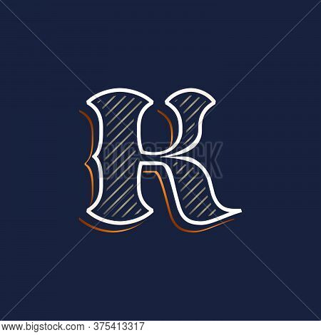 Vintage K Letter Logo With Line Decoration. Classic Serif Lettering. Vector Font Perfect To Use In A