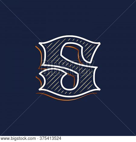 Vintage S Letter Logo With Line Decoration. Classic Serif Lettering. Vector Font Perfect To Use In A