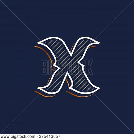 Vintage X Letter Logo With Line Decoration. Classic Serif Lettering. Vector Font Perfect To Use In A