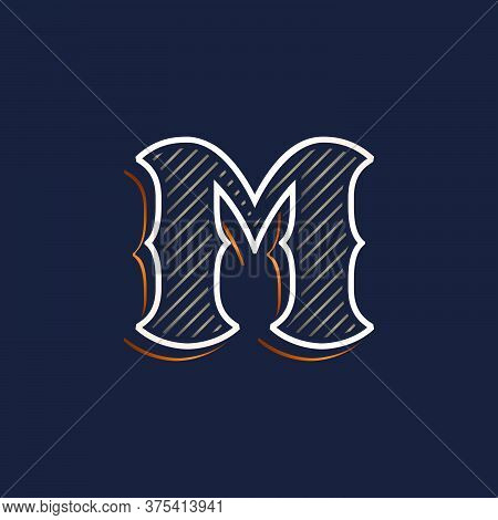 Vintage M Letter Logo With Line Decoration. Classic Serif Lettering. Vector Font Perfect To Use In A