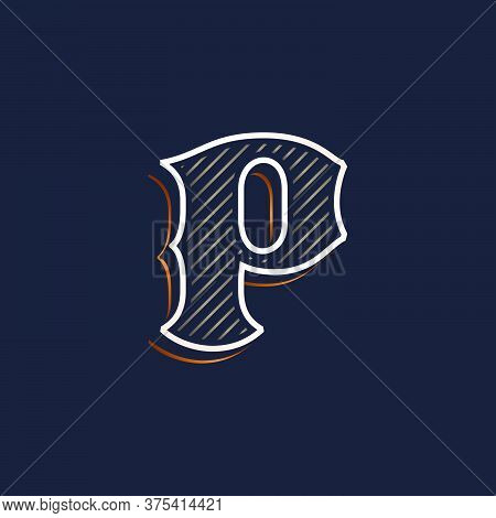 Vintage P Letter Logo With Line Decoration. Classic Serif Lettering. Vector Font Perfect To Use In A