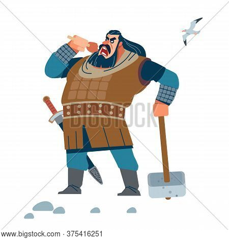 Viking. Warrior. Strong Viking Eat Meat. Isolated Vector Illustration Of A Flat Style.