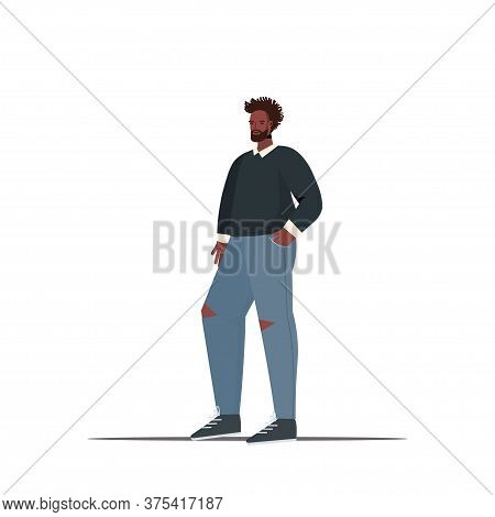 Cute Man In Casual Trendy Clothes Guy Holding Hads In Pockets Male Cartoon Character Standing Pose F