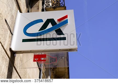 Bordeaux , Aquitaine / France - 07 06 2020 : Ca Logo Sign Of Credit Agricole French Office Of Bank A