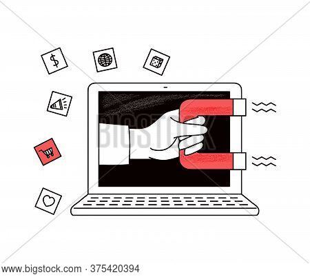 Inbound Seo Marketing Concept With Magnet, Sketch Vector Illustration Isolated.