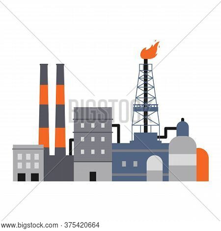 Oil Industry Factory Buildings, Pipes And Drilling Rig Derrick