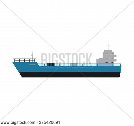 Industrial Cargo Ship Or Vessel Icon Flat Vector Illustration Isolated On White.