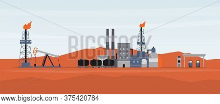 Landscape With Oil Production And Refining Site, Flat Vector Illustration.