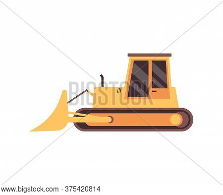 Yellow Bulldozer Tractor With Curved Blade Or Loader Bucket