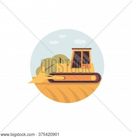 Yellow Bulldozer On Field - Harvester Machine Or Agricultural Vehicle