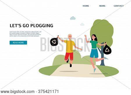 Cartoon Couple Plogging - Website Banner Template With Happy Runners