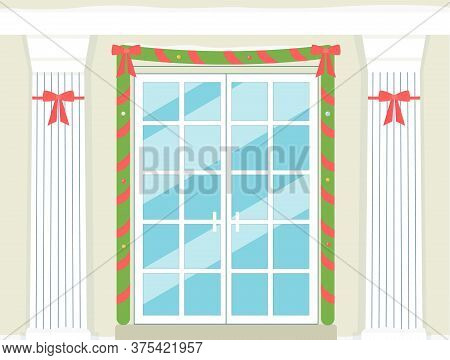 Holiday Doorway With Marble Columns And Garland Card Flat Vector Illustration.
