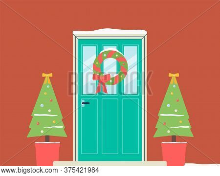 Christmas Holiday Doorway With Wreath And Fir Trees Flat Vector Illustration.