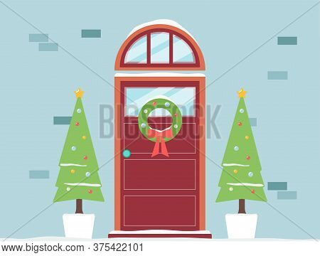 Christmas Holiday Doorway With Decoration Of Fir Trees, Flat Vector Illustration.