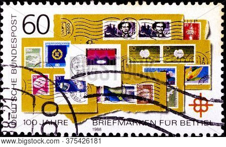 02 08 2020 Divnoe Stavropol Territory Russia The Postage Stamp Germany 1988 The 100th Anniversary Of