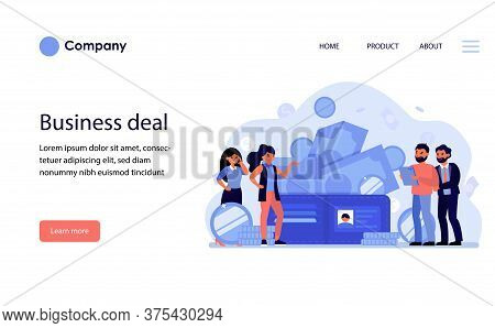 Business People Discussing Deal And Money. Cash, Payment, Buying, Partners Flat Vector Illustration.