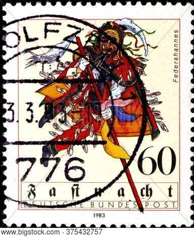 02 08 2020 Divnoe Stavropol Territory Russia The Postage Stamp Germany 1983 Shrovetide Federahannes