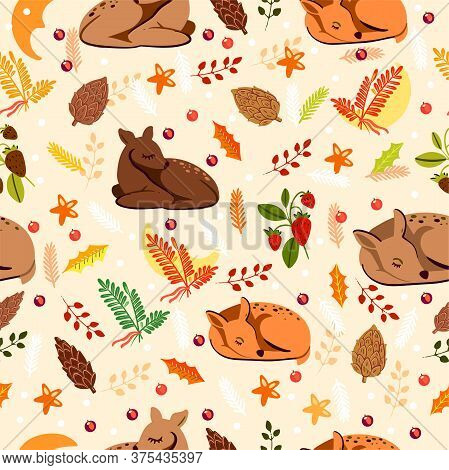 Wrapping Paper Seamless Pattern With Sleeping Deer In Scandinavian Style. Autumn Nordic Background F