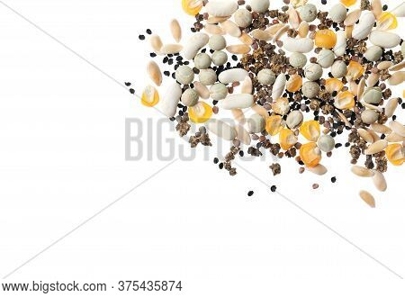 Mix Of Vegetable Seeds On White Background, Top View