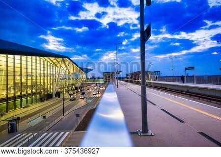 Gdansk, Poland - April 15, 2018: Modern terminal of Lech Walesa Airport in Gdansk, Poland. With over 4.6 million passengers served in 2017, it is the 3rd largest airport in Poland