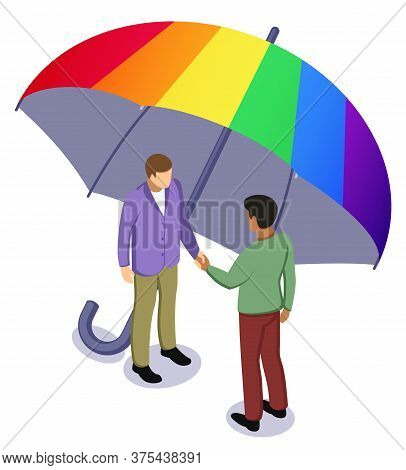 Black Afro And White Caucasian Man Shaking Hands Under Rainbow Umbrella. Tolerance, Lgbt And No Raci