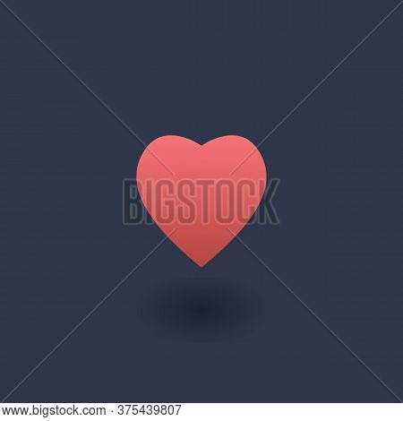 Heart 3d Icon. Vector Icon Of A Red Heart Shape In Dark Background. Love Postcard, Badge, Illustrati