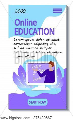 Template For The Mobile Version Of The Online Leducation Site. E-learning Mobile Application. Teache