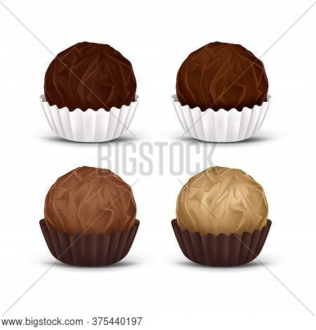 Round Chocolate Candy In Corrugated Paper Wrapper, Isolated On White Background. 3d Realistic Vector