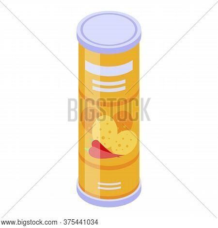 Chips Tube Icon. Isometric Of Chips Tube Vector Icon For Web Design Isolated On White Background