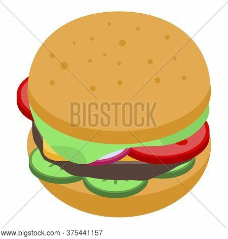 American Burger Icon. Isometric Of American Burger Vector Icon For Web Design Isolated On White Back