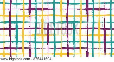 Grunge Line Vector Seamless Grid Border. Hand Drawn Brush Stroke Style Linear Criss Cross Purple, Tu