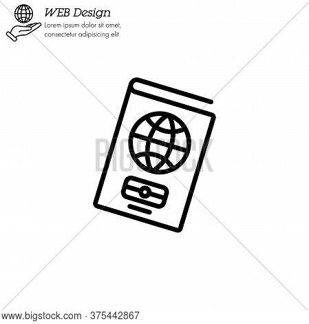 Passport Icon Thin Line, Linear, Outline. Simple Sign, Logo. Foreign Passport Line Icon. Visa, Docum