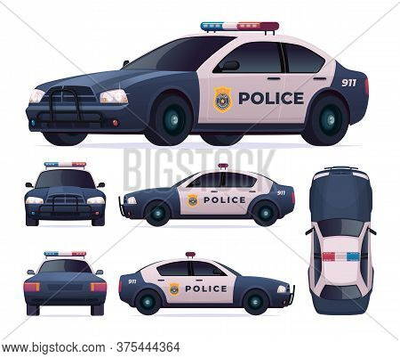 Police Patrol Car Set. View Front, Rear, Side, Top.