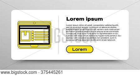 Line Laptop With App Delivery Tracking Icon Isolated On White Background. Parcel Tracking. Colorful