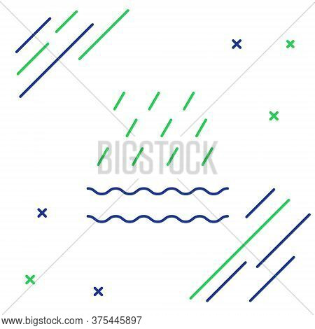 Line Rain And Waves Icon Isolated On White Background. Rain Cloud Precipitation With Rain Drops. Col