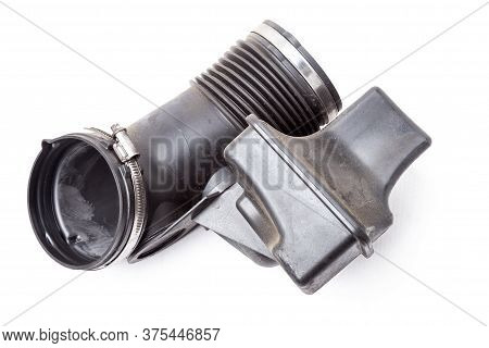 Air Duct To The Filter Of Intake Manifold Of The Car Engine From Textured Material And Black Plastic