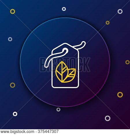 Line Tag With Leaf Symbol Icon Isolated On Blue Background. Banner, Label, Tag, Logo, Sticker For Ec