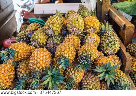 Fresh Ananas For Sale At A Market In Indonesia