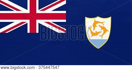 Anguilla National Fabric Flag, Textile Background. Symbol Of British Overseas Territory In The Carib
