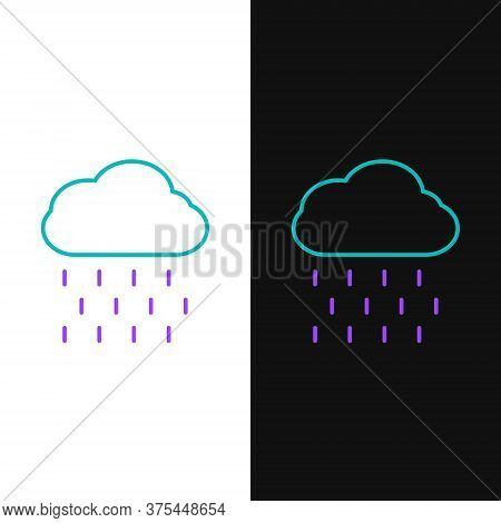 Line Cloud With Rain Icon Isolated On White And Black Background. Rain Cloud Precipitation With Rain