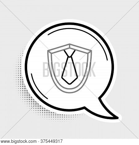 Line Tie Icon Isolated On Grey Background. Necktie And Neckcloth Symbol. Colorful Outline Concept. V