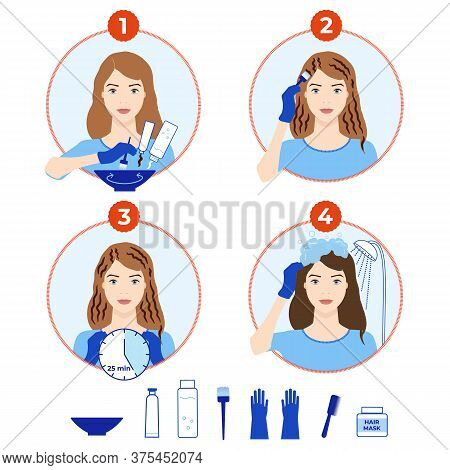 Hair Dyeing Icons Set. How To Dye Hair At Home Tutorial.