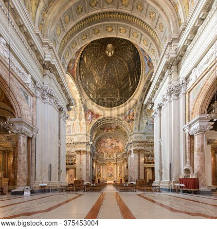 Rome, Italy - 16 Feb 2020: Painted Vaults Of Saint Ignatius Church, With Trompe L Oeil Perspective B