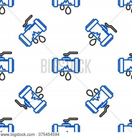 Line Broken Metal Pipe With Leaking Water Icon Isolated Seamless Pattern On White Background. Colorf