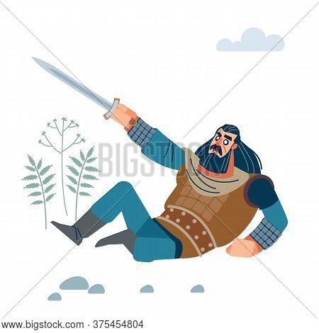 Angry Medieval Warrior With Long Medium Dark Hair, With Sword Defending Against Enemy. Flat, Cartoon