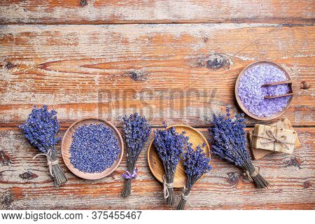 Natural Skin Care Spa With Copy Space On Vintage Wooden Background
