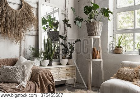 Lounge Room With Stylish Interior Design At Comfortable House, Cozy Couch, Cushions, Bedspread, Home